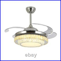 New 42 Remote Invisible Blade Silver Ceiling Fan Light Crystal LED Chandelier