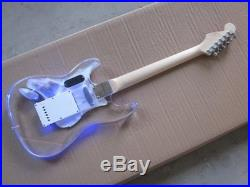 New Acrylic Electric guitar maple neck with LED light up dot inlays Strat style