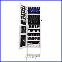New Full Mirror Jewelry Cabinet Armoire With LED Light 2 Drawers Floor Stand