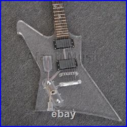 PANGO Super Left hand Acrylic body Electric guitar with Blue LED light (147)