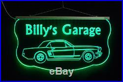 Personalized LED Sign, Ford Mustang Sign, Man Cave, Garage Sign, Antique Car