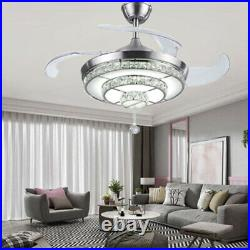 Remote Silver 42Crystal LED Chandeliers Retractable Blades Ceiling Fan Light