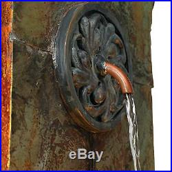 Rustic Outdoor Wall Water Fountain with Light LED 33 Medallion for Garden Home