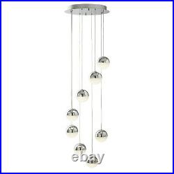 Searchlight Marbles 8 Lights LED Multi Drop Crushed Ice Pendant Ceiling Light