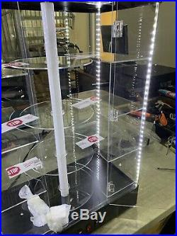 Showcase Display Acrylic CounterTop Revolving (E-Motor) All Side LED and 2 Top