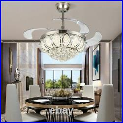 Silver 42 Crystal Invisible Ceiling Fan Light LED Chandelier Fan Lamp With Remote