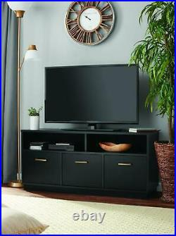 TV Stand 3 Door Cabinet for 50 TVs LED Flat Screen Media Center Console Black