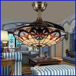 Tiffany LED Ceiling Fan Light Acrylic Retractable Blades Lamp Remote Control 42