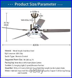 Tropicalfan Modern LED Ceiling Fan with One Acrylic Light Cover Remote Control
