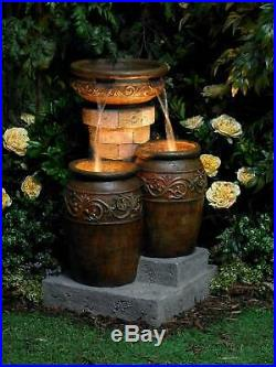 Tuscan Outdoor Floor Water Fountain with Light LED 31.5 Cascading Garden Patio