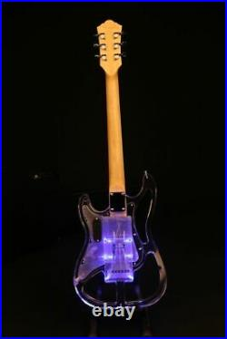 Upgraded Crystal Electric Guitar Blue Led Light Skeleton Body Less Weight