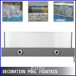 VEVOR Fountain Spillway Acrylic Waterfall Pool 23.6Acrylic Color Changing LED