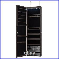Wall Door Mounted LED Mirror Jewelry Cabinet Armoire Organizer with6 Drawers Brown
